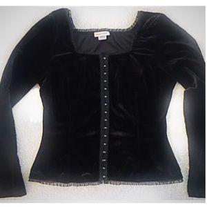Monroe & Main Vintage Black Velvet Bustier Top L
